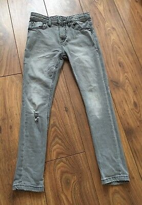 Next Boys Grey Fade Skinny Torn Knee Worn Look Jeans 10 Yrs VGC