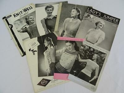 Vintage Knitting Patterns 1940s Printed Ladys Jumpers Original F x 7