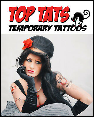 LARGE Amy Winehouse Fancy Dress Temporary Tattoos,Costume Party Outfit Halloween