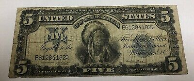 {☆}✔{☆} AMAZING ☆ 《1899 SILVER CERTIFICATE》 INDIAN CHIEF  $5 Rep.*Banknote
