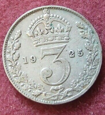British - 1925  George V  Three Pence - Silver coin. Key Date.