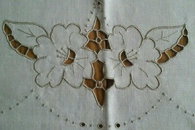 "VINTAGE 62""x84"" ECRU LINEN TABLECLOTH WITH FLORAL HAND EMBROIDERY & CUTWORK"