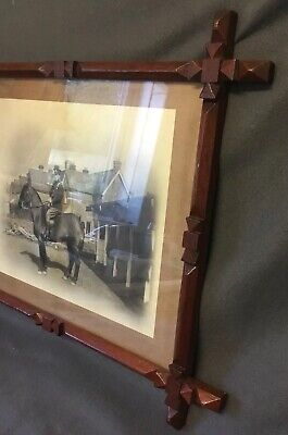 Fantastic Arts And Crafts Movement Hand Carved Picture Frame + Military Photo