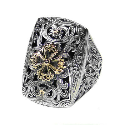 Gerochristo 2253N ~ Solid Gold & Silver Medieval-Byzantine Ornate Large Ring