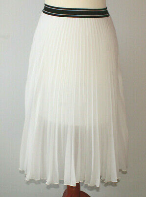 b277462871 Topshop White Sheer Pleated Midi Skirt Elasticated Waistband Layered Summer  8