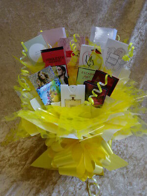 Yellow Flower Style Bouquet 12 Perfume Vial Samples Gift Bows Birthday Wrapped