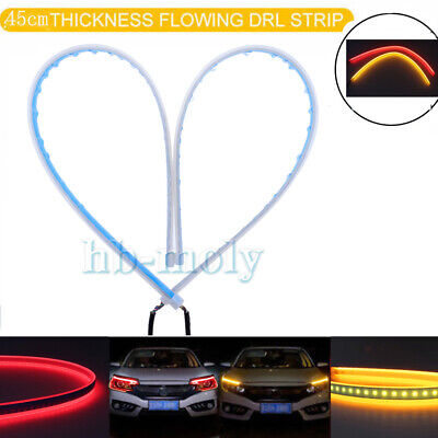 2X 60cm LED Switchback Headlight Sequential DRL Light Strip Tube Red/&Yellow UQ