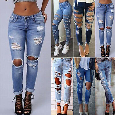 Womens Ripped Destroyed Denim Jeans Skinny Jeggings High Waist Pants Trousers US