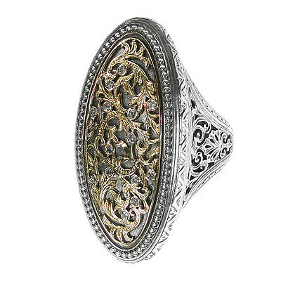Gerochristo 2666 ~ Solid Gold, Silver Silver & Diamonds Byzantine Cocktail Ring