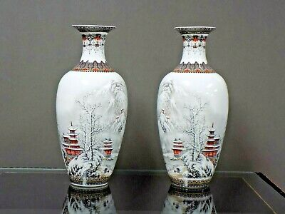 """Matched Pair 9.5"""" Chinese Porcelain Vases Winter Scene-Asian Oriental Ceramic"""