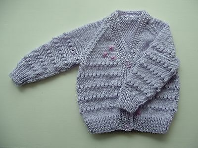 Baby Hand Knitted Cardigan, Pale Lilac, 0-3 Months, Long Sleeve, Beaded Trim New