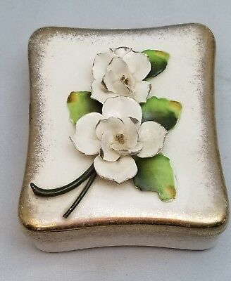 White Porcelain Trinket Box W/ Raised Flowers on the Lid Vintage Unique
