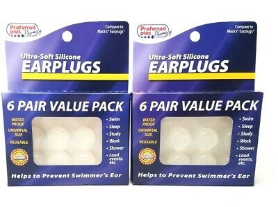 Ear Plugs, Ultra-Soft Silicone 6 pair (Pack of 2)