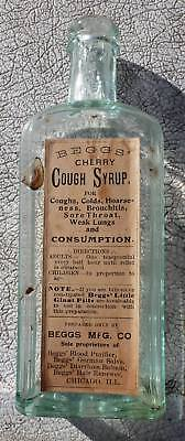 ORIGINAL BEGG'S CHERRY COUGH SYRUP BOTTLE-Embossed-Paper Label-Hand Blown-1890s