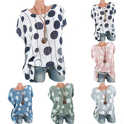 Womens Spotted Scoop Neck Tops Ladies Linen Loose T Shirt Blouse Plus Size Tee