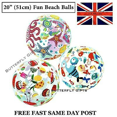 "Intex Inflatable 20"" Beach Ball Childrens Pool Beach Toy - Assorted New Designs"
