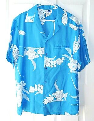Mens Hilo Hattie Button Front Navy Blue Flowers Leaves Hawaiian Shirt Size Sz Xl Casual Button-down Shirts