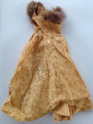 Vintage 1950's Mme Alexander or Similar Gold Formal Gown Real Fur Trim