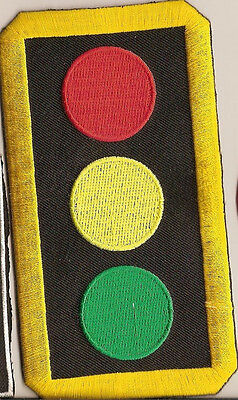 Stop Light Embroidered Traffic Sign Iron On Patch New