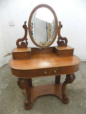 antique,victorian,small,dressing table,carved,cabriole legs,drawers,mirror,demi