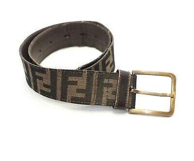 FENDI monogram wide buckle zucca Belt 22-27 leather brown beige