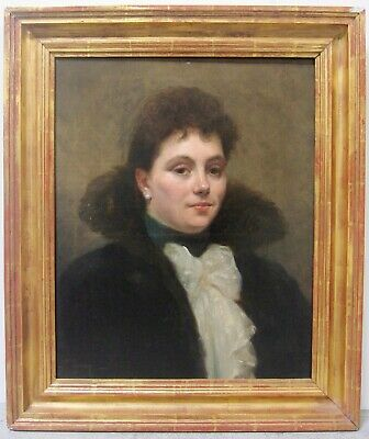 19th Century French Portrait Lady Dupre Stamps Signed Listed Art JEANNE TOURNAY