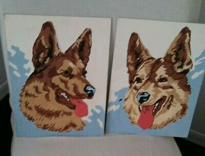 Vintage Mid-Century 2 Paint By Numbers Geman Shepard Dogs Paintings
