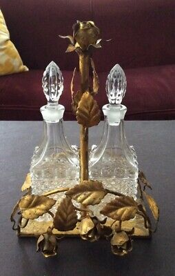 Beautiful Vintage Crystal Cruet / Condiment Set In An Ornate Gold /Metal Stand