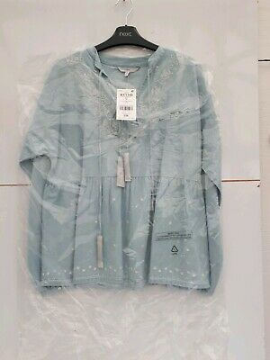 womens NEXT embroided top BNWT new size 10 blue RRP £36 ladies girls blouse