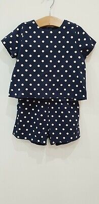 Next Girls Navy Polka Dot Shorts Top Outfit Summer Set Size 3 years