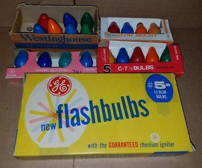 Vintage Christmas Lights GE / Westinghouse Ceramic Coated Bulbs, 5b flashbulbs