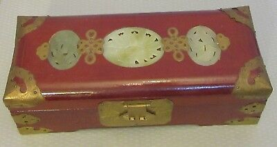 estate vtg Chinese 3 JADE MEDALLION JEWELRY BOX lacquered wood brass fittings
