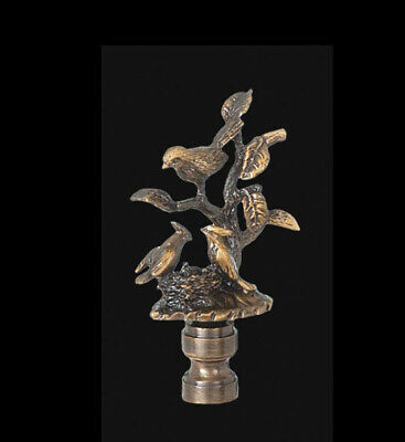 "BIRDS and TREE LAMP FINIAL ~ ANTIQUE Brass { 2 7/8"" Tall } ~ #GB70"