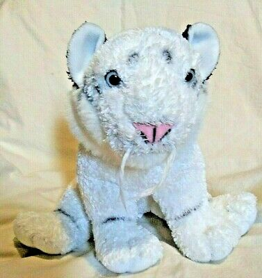 "Fiesta Sitting White Tiger Russo Siberian 10"" Striped Plush Animal Blue Eyes"