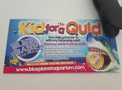 Blue Planet Aquarium voucher kids £1 with full paying adult Cheshire Oaks offer