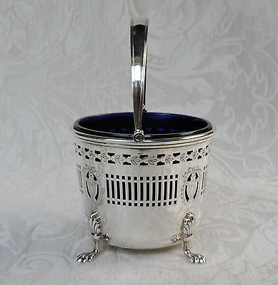 Edwardian Silver Plate Basket w Blue Glass Liner, c1910 by Barker Ellis
