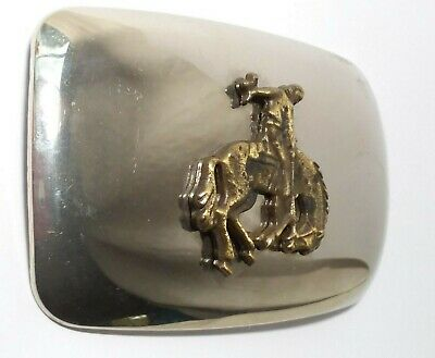 VINTAGE COWBOY BELT BUCKLE Chrome BRONZE Bucking Bronco WESTERN RODEO USA 2 Tone