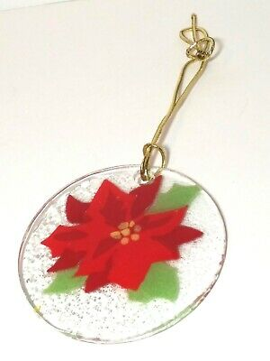 HANDCRAFTED Signed FUSED GLASS Ornament SUN CATCHER POINSETTIA Red Green