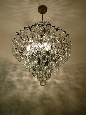 Vintage 5 light Brass and Crystal Old Spider Style Chandelier / Lamp