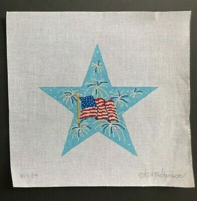 Kate Dickerson Hand-painted Needlepoint Canvas Star/American Flag & Fireworks