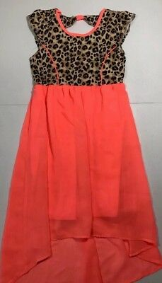 Faded Glory Girls Dress Pink Short Sleeve Animal Print High Low Size 10/12 Large