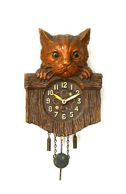 Vintage Lux Kitty Cat Pendulette Clock Circa 1940