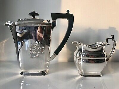 Vintage Art Deco Coffee Pot & Milk Jug Silver Plate A1 English Manufacturer WS&S