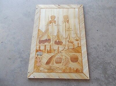 Vintage rare folk art West Indies scene corn husk layered wall hanging picture