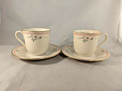 Set of 2 Lenox Rose Manor Pink Cups and Saucers