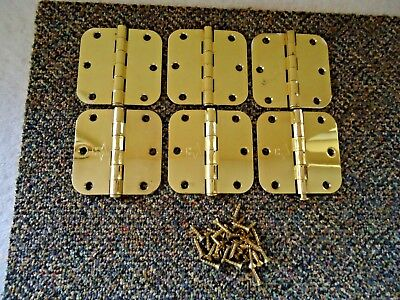 """Lot of 6 Heavy Made Brass Plated 3 1/2"""" x 3 1/2"""" Hinges With Some Screws"""