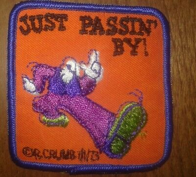 """R. CRUMB / MR NATURAL / embriodery patch """" just passin by"""" original new old 73"""