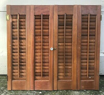 "25"" T X 27 1/8"" W VTG Colonial Wood Interior Louver Plantation Window Shutters"
