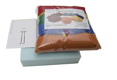 Needle Felting Starter Kit Small: 5 Colours Wool (100g)
