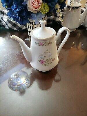 Crown Ming Fine China Jian Shiang Teapot Floral Pattern w Gold Trim